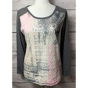 NWOT Christopher & Banks Gray Lace Sequin Top